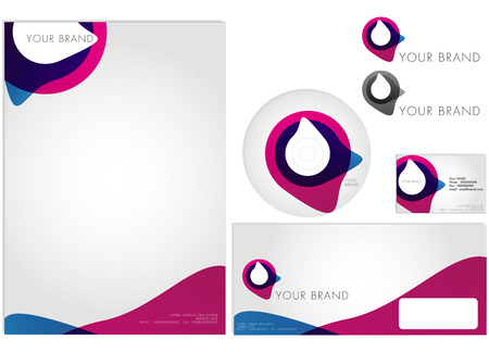 modern corporate identity with actual sizes of letterhead, color and monochrome logo, CD imprint, business card and business envelope Vector