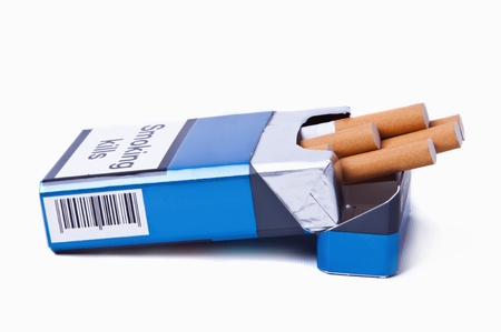 pack: Isolated image of a blue pack of cigarettes