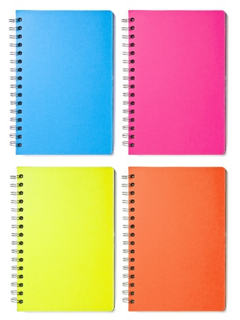 Isolated image of four colored blank vertical spiral notebooks Stock Photo - 8958708