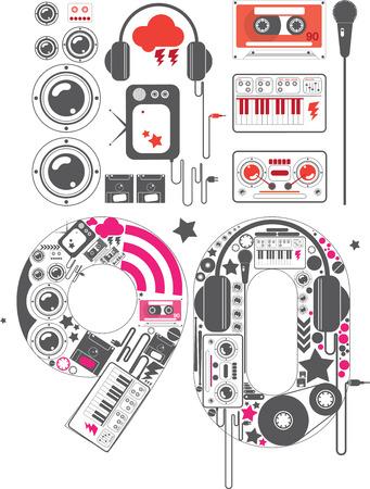 the nineties: 90s Groove Icon Set