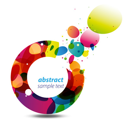 rainbow circle: Abstract background with bursting colorful bubbles out of a circle, a modern, stylish and vivid copy space
