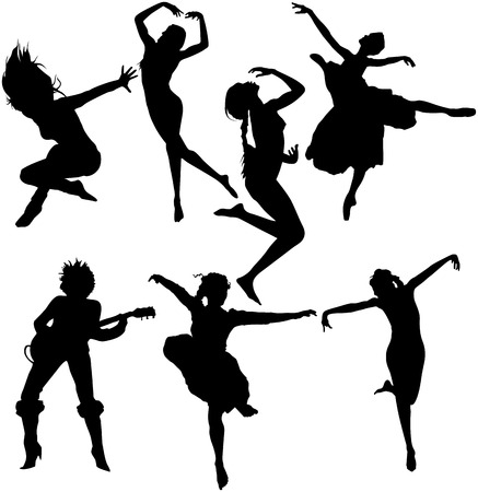 siluetas mujeres: Aislado de un conjunto de baile siluetas de mujeres Vectores