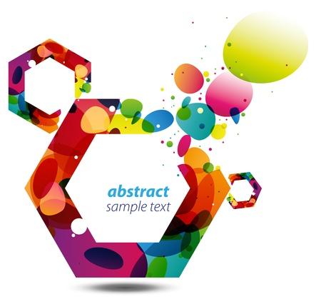 六角形が、近代的なスタイリッシュな鮮やかなコピー スペースからカラフルなバブルと抽象的な背景