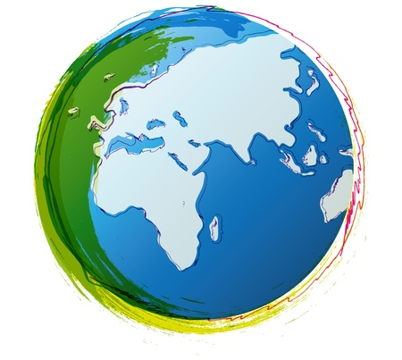 Illustration of colorful world globe drawn with doodle lines Vector