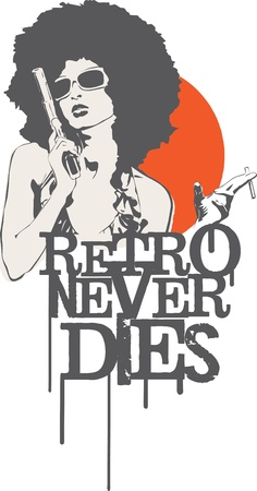 Retro girl holding a gun and cigarette with grunge typography Vector