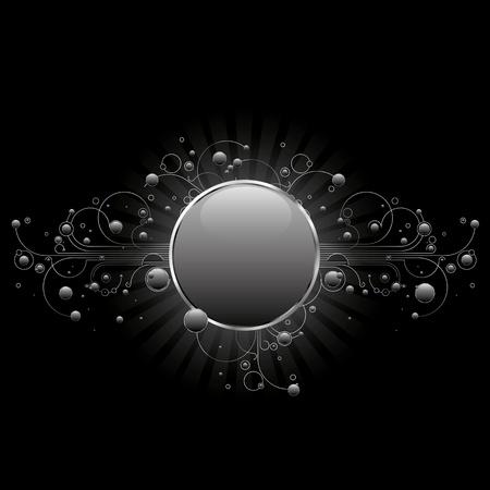 silver circle: Cerchio moderno shiled con svolazzi lineari e cerchi lucidi in argento toni