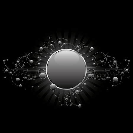 black and silver: Modern circle shiled with linear flourishes and glossy circles in silver tones