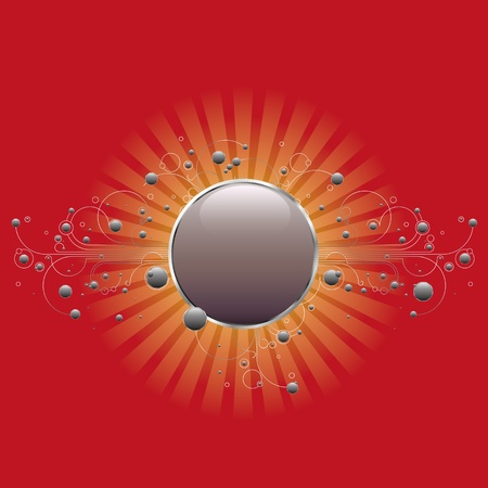 Modern circle shiled with linear flourishes and glossy circles on red and orange background Vector