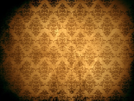 baroque room: Damask wallpaper or background with grunge and floral ornaments