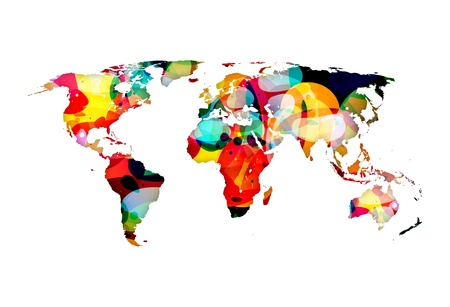 A colorful abstract illustration of the world globe map illustration