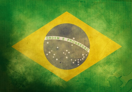 green flag: Brazilian Flag on old and vintage grunge texture