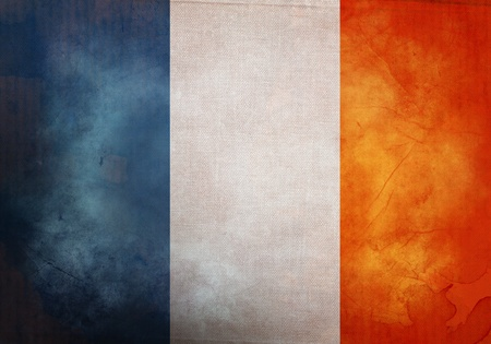 French Flag on old and vintage grunge texture