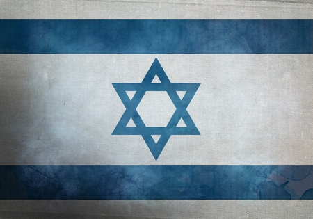 Israeli Flag on old and vintage grunge texture photo