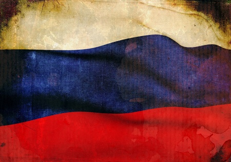 Russian Flag on old and vintage grunge texture photo