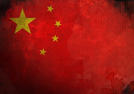 China Flag on old and vintage grunge texture photo