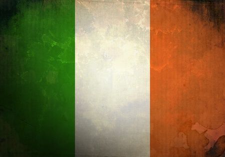 Irish Flag on old and vintage grunge texture photo