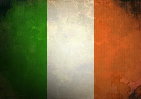 ireland: Irish Flag on old and vintage grunge texture