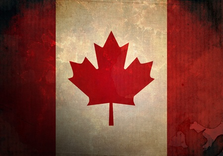 Canada Flag on old and vintage grunge texture photo