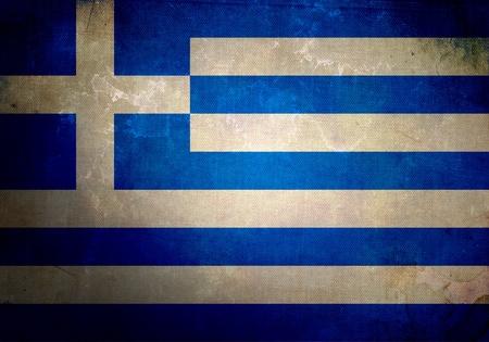 grecia antigua: Bandera de Grecia en textura antigua y cosecha grunge