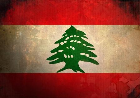 Lebanon Flag on old and vintage grunge texture photo