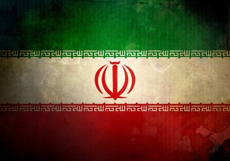 Iran flag on old and vintage grunge texture photo