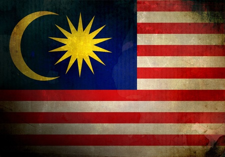 malaysian: Malaysia flag on old and vintage grunge texture