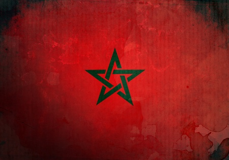 Morocco flag on old and vintage grunge texture photo
