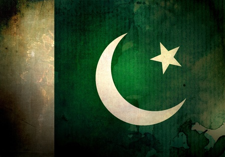 pakistani pakistan: Pakistan flag on old and vintage grunge texture Stock Photo