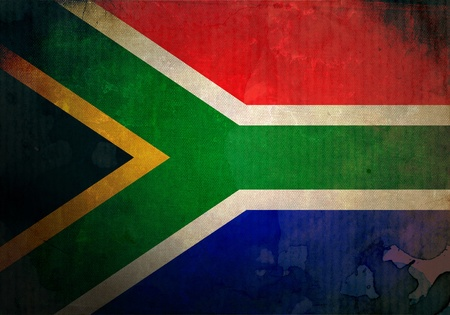 south africa flag: South Africa Flag on old and vintage grunge texture