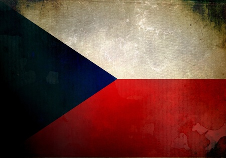 Czech Republic flag on old and vintage grunge texture photo