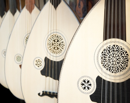 lute: Image of uds hung on wall. Ud is very popular in Arab and Greek cultures too. Stock Photo