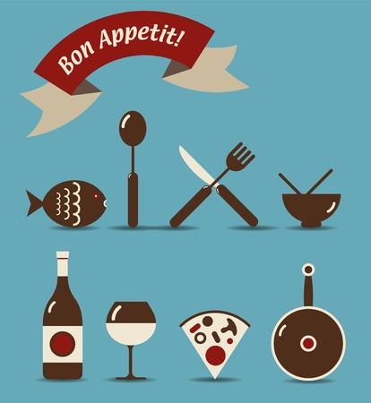 fork glasses: Un set di icone di oggetti alimentare e delle bevande con francese  Vettoriali