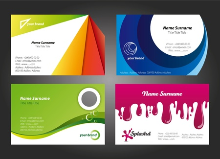 Modern, fresh and colorful business cards in editable vector format Vector