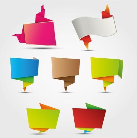 カラフルな抽象的な折り紙デザイン要素、吹き出し、異なる目的のための様々 な形のラベル