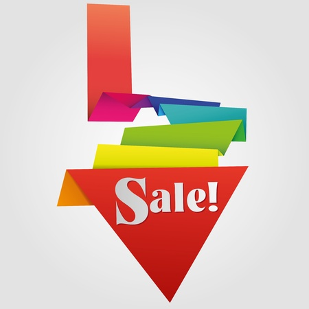 promotional: Abstract design element, sale label in origami style with vivid colors