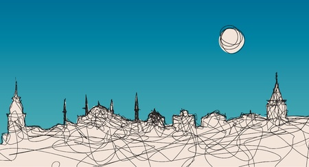 An illustration of Istanbul silhouette in an original linear style Vector