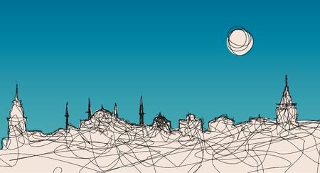 osmanisch: Ein Beispiel f�r Istanbul Silhouette in einer urspr�nglichen linearen Stil Illustration