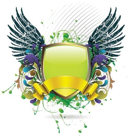 artificial wing: Verde scudo lucido con un nastro dorato e ornato grunge sullo sfondo Vettoriali