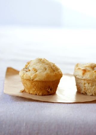 A close up image of muffins with pear and fig photo