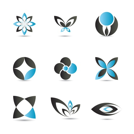 leaf logo: 9 pieces of elegant and modern blue design elements set