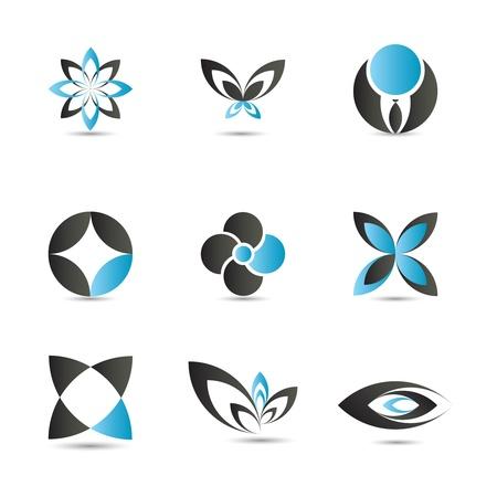 icons logo: 9 St�ck elegante und moderne blau Design-Elemente festlegen
