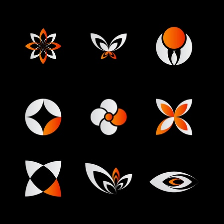 9 pieces of elegant and modern orange logo elements set on black Stock Vector - 9819662