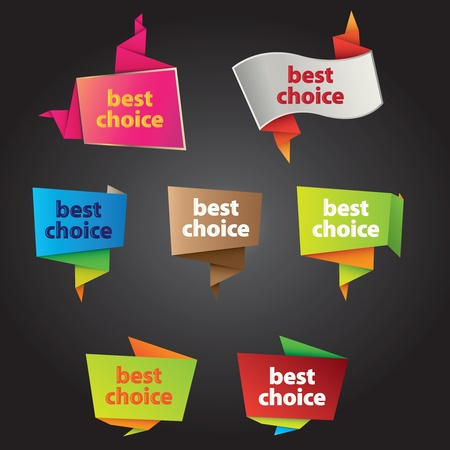 best choice tags in origami style and different colors & styles Vector