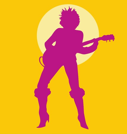 playing the guitar: Woman Playing Guitar silhouette purple on yellow Illustration