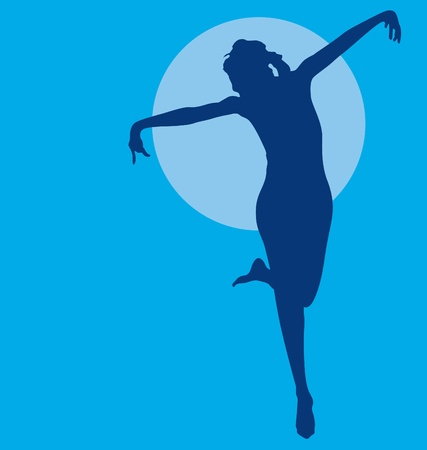 Dancing woman silhouette navy on blue Illustration