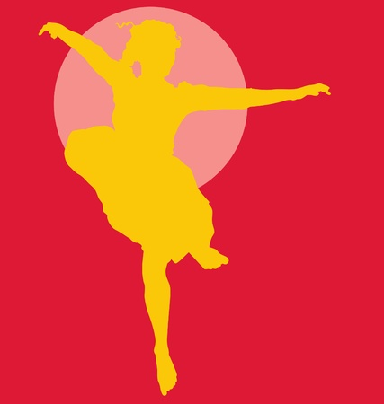 Dancing ballerina silhouette yellow on red Vector