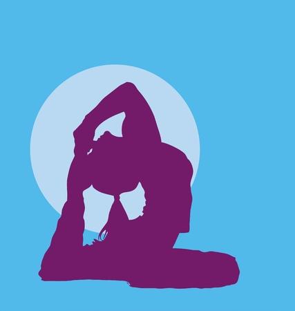 Meditating Girl Silhouette purple on light blue Vector