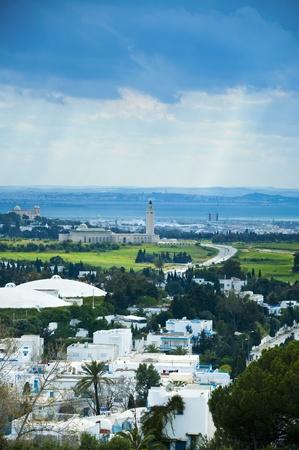 Bird's eye view van Tunis stad van het toeristische gebied; Sidi Bou Said Stockfoto