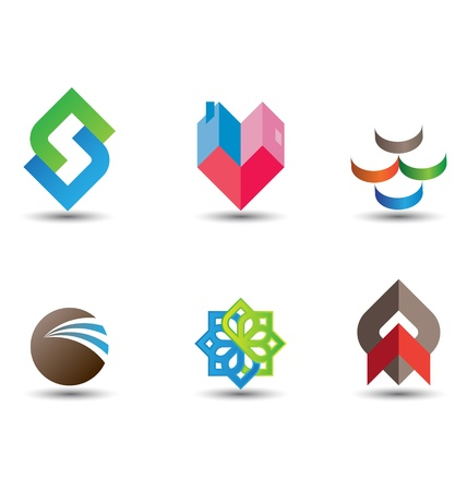 round logo: a very modern, fresh and trendy design element set for your company, fully editable. Illustration