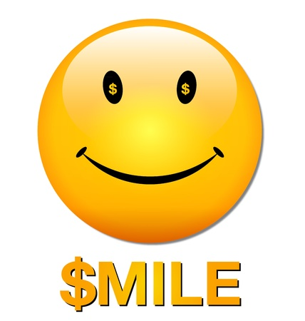 smiley face icon: vector image of a yellow smiley face icon with dollar sign and smile text